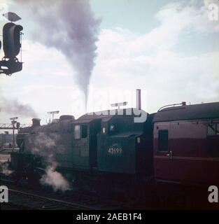 Steam trains running on British railways in 1967, towards the end of main line steam, at Leeds City Station, Northern England, UK - Stock Photo