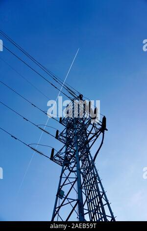 electricity tower and blue sky Stock Photo