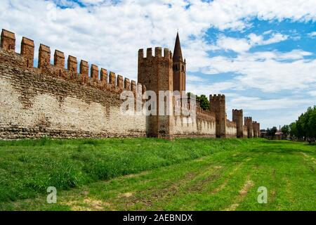 City wall and fortification of Montagnana, near Padua, in northern Italy.