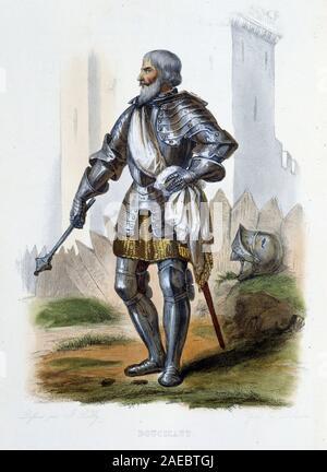 Jean II Le Meingre (Le Maingre) (1364-1421), surnomme 'Boucicaut', marechal de France. - in 'Le Plutarque francais', Ed. Mennechet, 1844-1847 - Stock Photo