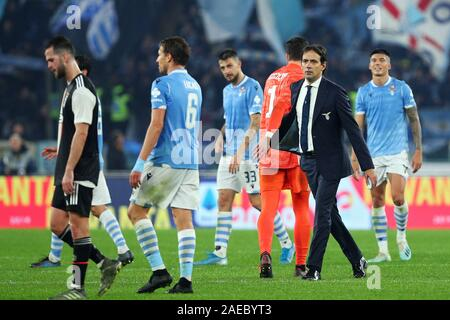 Lazio head coach Simone Inzaghi greats his players at the end of the Italian championship Serie A football match between SS Lazio and Juventus on December 7, 2019 at Stadio Olimpico in Rome, Italy - Photo Federico Proietti/ESPA-Images - Stock Photo