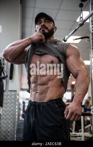 young bearded man with strong physique torso showing his muscle press under shirt - Stock Photo