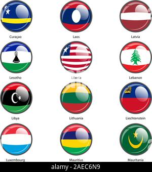 Set circle icon  Flags of world sovereign states. Vector illustration. - Stock Photo