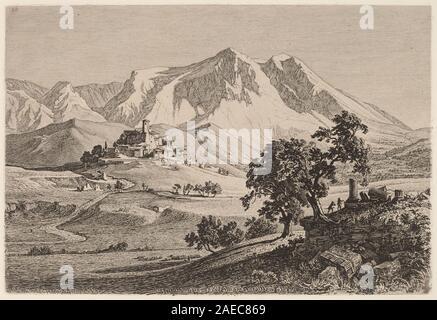 Veduta di Albe e Monte Velino negli Abruzzi; 1839date Georg Heinrich Busse, Veduta di Albe e Monte Velino negli Abruzzi, 1839 - Stock Photo