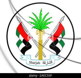 3D Emirate of Sharjah coat of arms, UAE. 3D Illustration.