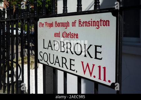 Ladbroke Square road name sign, Royal Borough of Kensington and Chelsea, London, UK - Stock Photo