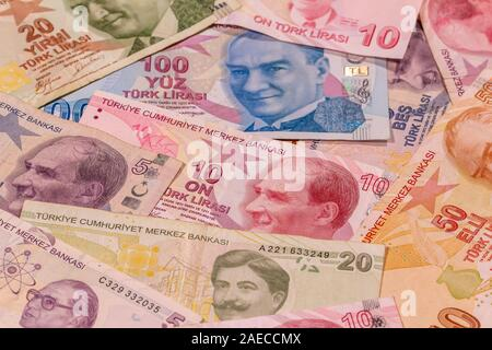A composition of Turkish lira TL. TRY banknotes providing great options to be used for illustrating subjects as business, banking, media, etc. - Stock Photo