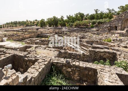 Tel Beit Shean (Beth She'an) was a major Biblical city, located in the center of crossroads between the Jordan valley and the Jezreel valley. - Stock Photo