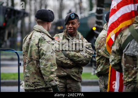 Bucharest, Romania - December 01, 2019: US Army soldiers of the 1st Cavalry Division take part at the Romanian National Day military parade. - Stock Photo