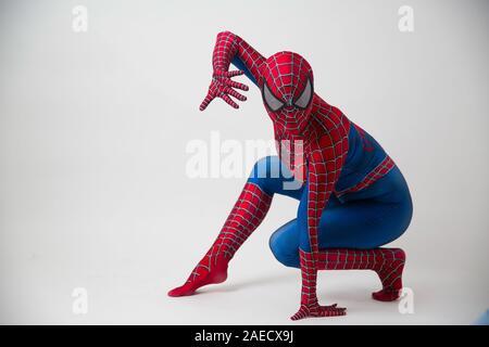 1 December 2019. Israel, tel Aviv. spider-man posing on white background - Stock Photo