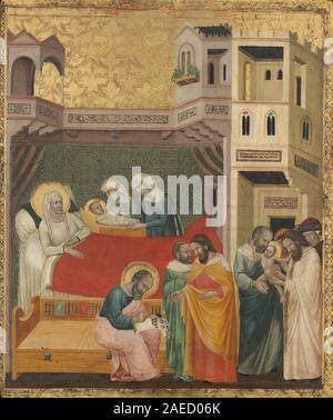 Giovanni Baronzio, The Birth, Naming, and Circumcision of Saint John the Baptist, c 1335 The Birth, Naming, and Circumcision of Saint John the Baptist; circa 1335 date - Stock Photo