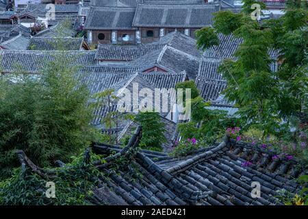 Rooftops of Lijiang Old Town - Stock Photo