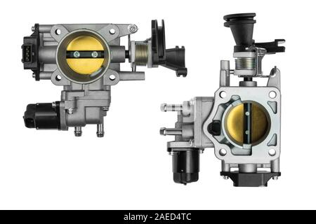 new throttle body assembly with sensor from different sides on a white background - Stock Photo
