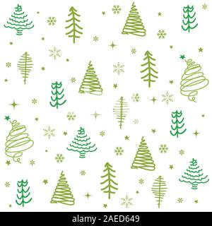 Seamless pattern with Christmas tree. Winter forest. - Stock Photo