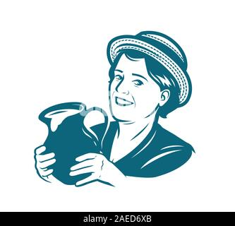Beautiful young woman with a jug of milk. Dairy farm vector - Stock Photo
