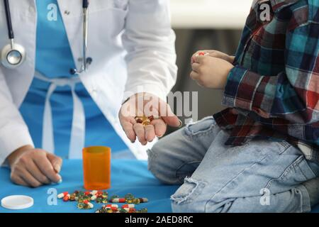 Spilled tablets on table