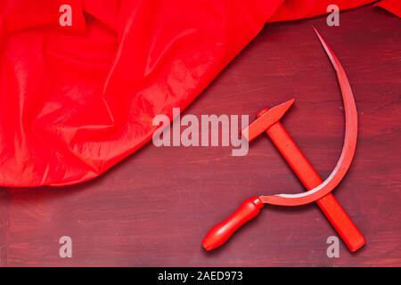 red sickle and hammer symbol of Soviet Union commonism history of Russia - Stock Photo
