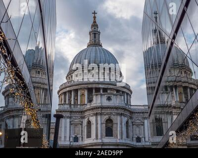St Paul's Cathedral, Reflected in Glass of One New Change Shopping, Centre, London, UK, GB.