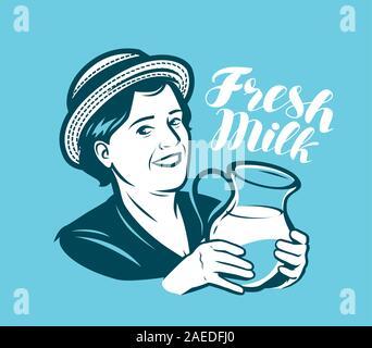 Beautiful woman with a jug of milk. Dairy farm, retro vector - Stock Photo