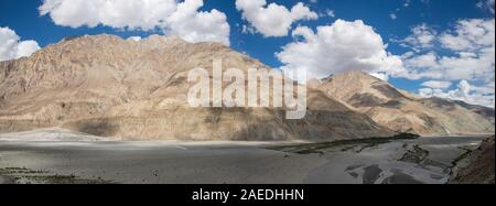 panorama view of Shyok valley in Ladakh, northern India - Stock Photo