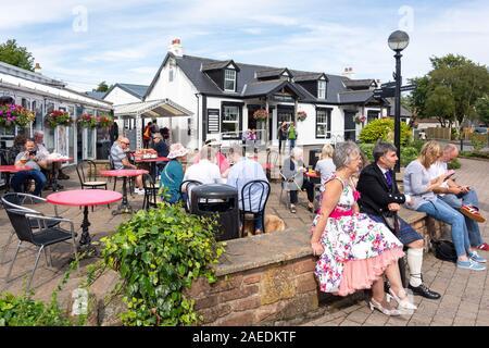 Outdoor terrace, Gretna Green Famous Blacksmiths Shop, Gretna Green, Gretna, Dumfries and Galloway, Scotland, United Kingdom - Stock Photo