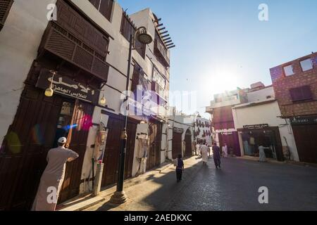 Exterior view of a recently renovated traditional residential coral town houses in the historic district Al Balad, Jeddah, KSA, Saudi Arabia - Stock Photo