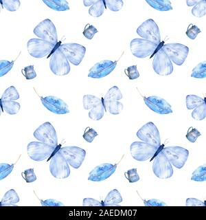 Seamless Pattern with Flying Butterflies and Pansy Flowers in Watercolor Style. Beauty in Nature. Background for Fabric, Textile, Print and Invitation - Stock Photo