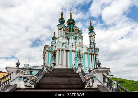View of Saint Andrew's church and Andreevska street from above, cityscape of Podol district, city of Kiev (Kyiv), Ukraine. - Stock Photo