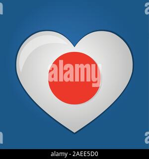 heart with japan flag inside vector symbol illustration - Stock Photo