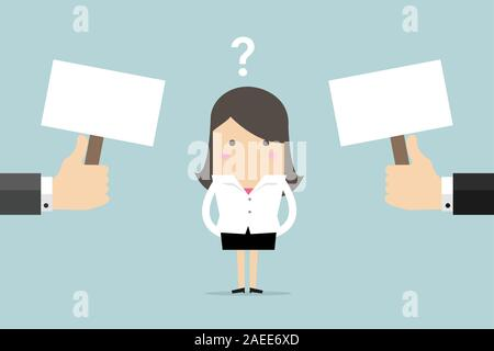 Businesswoman confused about two choices. - Stock Photo