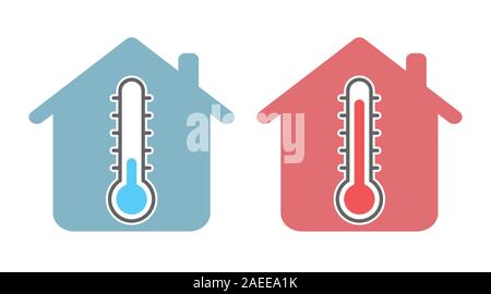 Thermometer icon with home sign, for temperature in room concept - Symbol Vector Illustration. - Stock Photo