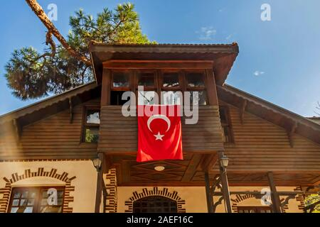 bostanci,istanbul,turkey-december 7,2019. general view from old wooden istanbul house in bostancı district - Stock Photo
