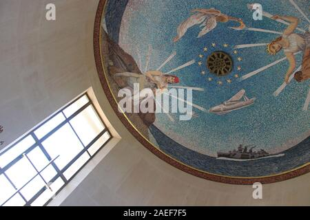 chapel in the american military cemetery in colleville-sur-mer in normandy (france) - Stock Photo