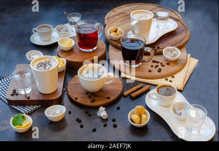 Different types of coffees and teas- perspective view - Stock Photo