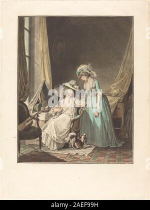 Jean-François Janinet after Nicolas Lavreince, L'aveu difficile (The Difficult Confession), 1787 L'aveu difficile (The Difficult Confession); 1787date - Stock Photo