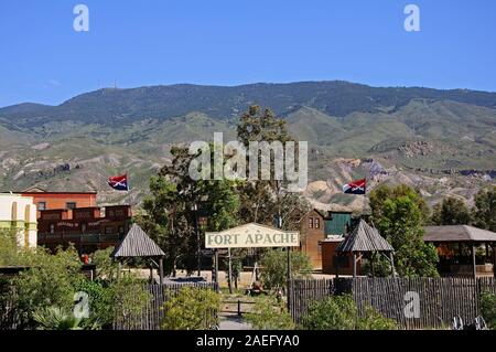 View of Fort Apache at Mini Hollywood with mountains to the rear, Tabernas, Almeria Province, Andalucia, Spain, Europe.