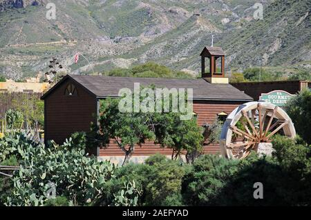 Wooden church building in Fort Apache at Mini Hollywood with mountains to the rear, Tabernas, Almeria Province, Andalucia, Spain.