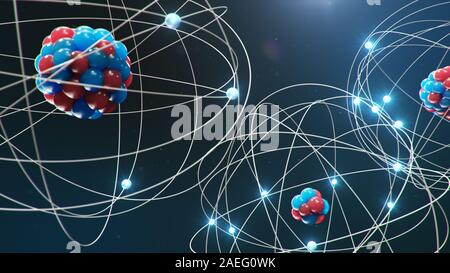 Abstract atom model. Atom is the smallest level of matter that forms chemical elements. Glowing energy balls. Nuclear reaction. Concept nanotechnology - Stock Photo