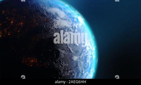 3D Rendering earth with world map hot terrain cloud and water against the space with noise and grain processed image furnished by NASA - Stock Photo