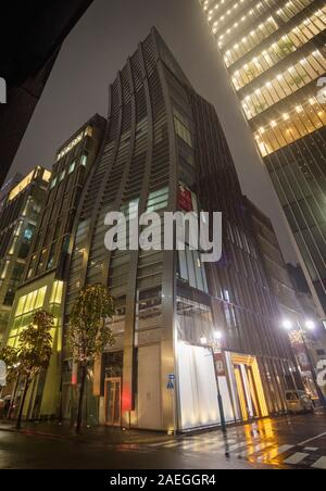 night view of V88 Building (former name : De Beers Ginza Building), 2-chōme-5-11 Ginza, Tokyo, Japan - Stock Photo