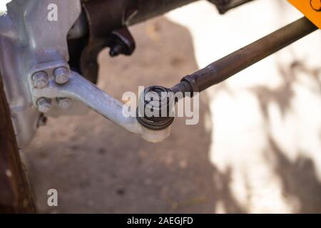 Steering rod with steering tip. Safety concept, construction equipment, mechanic - Stock Photo