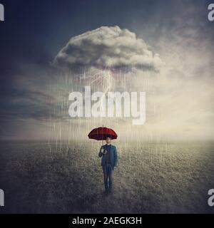 Surreal scene as man stands outdoors under umbrella due a single mysterious storm cloud raining only over him. Find solution to escape crisis situatio