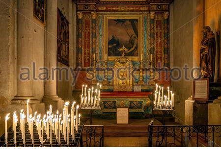 Saint-Antoine-l'Abbaye (France) : Christmas celebrations in the Abbey church - Stock Photo