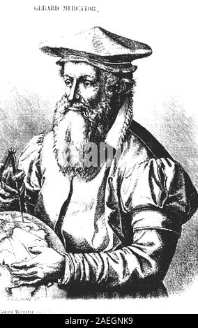 Gerardus Mercator, 5 March 1512 - 2 December 1594, was a 16th-century geographer, cosmographer and cartographer from Flanders. /  Gerhard Mercator, Geograph und Kartograf, Digital reproduction of an original print from the 19th century - Stock Photo
