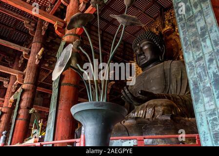 April 22, 2019: The great bronze statue of Buddha at Todaiji temple. Nara, Japan - Stock Photo