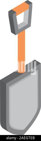 farm shovel tool rural isometric icon vector illustration - Stock Photo