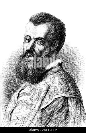 Andreas Vesalius, 31 December 1514 - 15 October 1564, a 16th-century Flemish anatomist, physician, and author of one of the most influential books on human anatomy, De humani corporis fabrica   /  Andreas Vesal, Andreas Vesalius, flämischer Anatom und Chirurg der Renaissance, Digital reproduction of an original print from the 19th century - Stock Photo