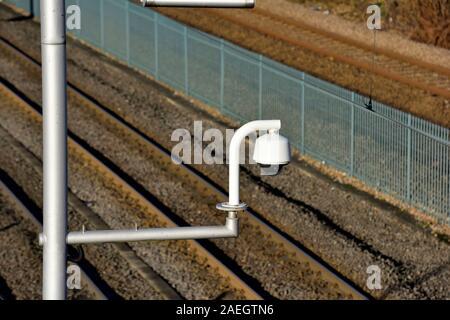 CCTV Security Camera,above a railway line,Nottingham,England,UK - Stock Photo