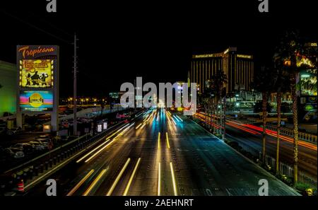 Long exposure shot of the Las Vegas strip at night, Las Vegas, Nevada. - Stock Photo