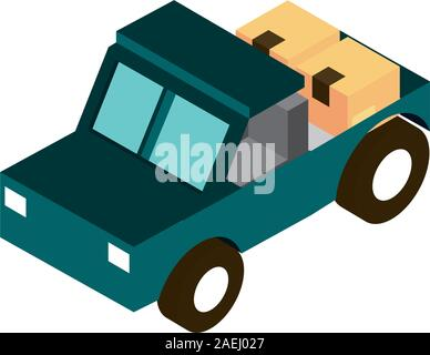 jeep equipment transport vehicle isometric icon vector illustration - Stock Photo